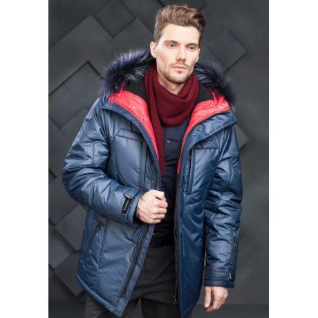 Куртка зимняя мужская с климат-контролем AutoJack 0478 цвет синий с красными вставками