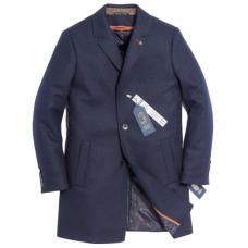 Пальто мужское Royal Spirit, модель Гюго синее с подстежкой