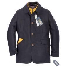 Пальто мужское Royal Spirit, модель Дуэль синее с отстегивающимся воротом