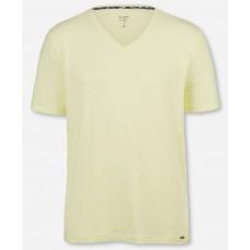 Футболка Olymp Level Five (body fit), артикул 56615254, приталенная c V-образнам вырезом из желтого льна