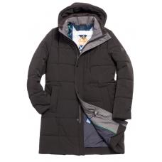 Куртка зимняя мужская Royal Spirit, модель Костелло длинная, черная с капюшоном
