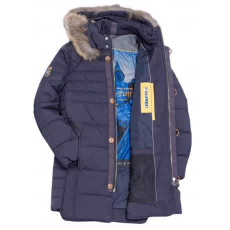 Куртка зимняя мужская Royal Spirit, модель Вивальди синяя с капюшоном