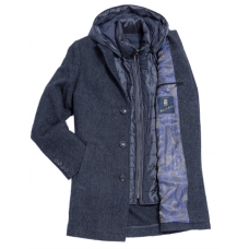 Пальто мужское Royal Spirit, модель Дефо синее в ёлочку