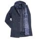 Пальто мужское Royal Spirit, модель Дефо синее в ёлочку с подстежкой