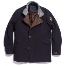 Пальто мужское Royal Spirit, модель Бизон синее с отстегивающимся жилетом