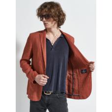 Пиджак мужской Royal Spirit, модель Грэйт, летний, льняной, кирпичный