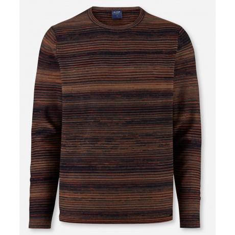 Джемпер мужской Olymp 53126518, меланжевый из шерсти и хлопка с круглым вырезом