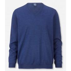 Пуловер мужской Olymp 01501015, синий шерстяной с V-образным вырезом