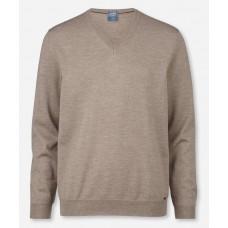 Пуловер мужской Olymp 01501027, бежевый шерстяной с V-образным вырезом