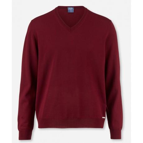 Пуловер мужской Olymp 01501039, бордовый шерстяной с V-образным вырезом