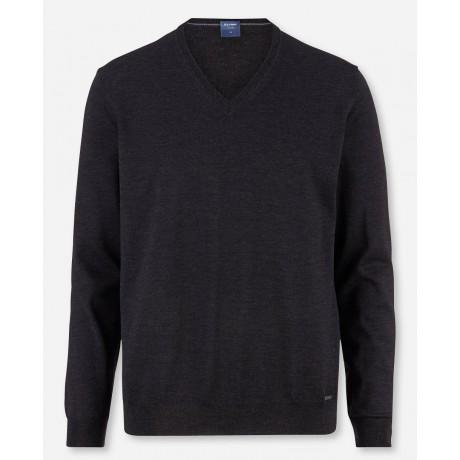 Пуловер мужской Olymp 01501069, темно-серый шерстяной с V-образным вырезом