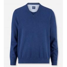 Пуловер мужской Olymp 01601013, светло-синий хлопковый c V-образным вырезом