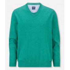 Пуловер мужской Olymp 01601044, светло-зеленый хлопковый c V-образным вырезом