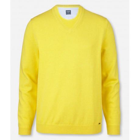 Пуловер мужской Olymp 01601050, желтый хлопковый c V-образным вырезом
