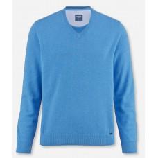Пуловер мужской Olymp 01601074, голубой хлопковый c V-образным вырезом