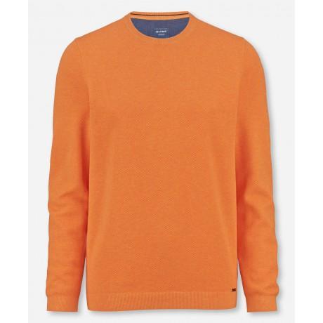 Пуловер мужской Olymp 53115506, оранжевый из структурного хлопка с круглым вырезом
