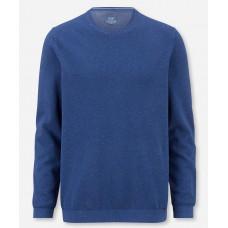 Пуловер мужской Olymp 53115515, синий из структурного хлопка с круглым вырезом