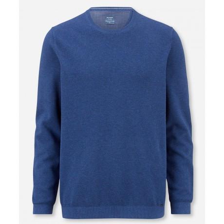 Пуловер мужской Olymp 53115515, синий из структурного хлопка