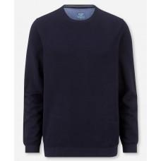 Пуловер мужской Olymp 53115518, темно-синий из структурного хлопка с круглым вырезом