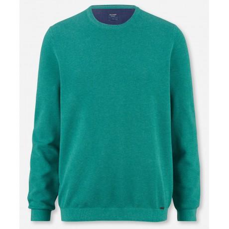 Пуловер мужской Olymp 53115544, зеленый из структурного хлопка с круглым вырезом