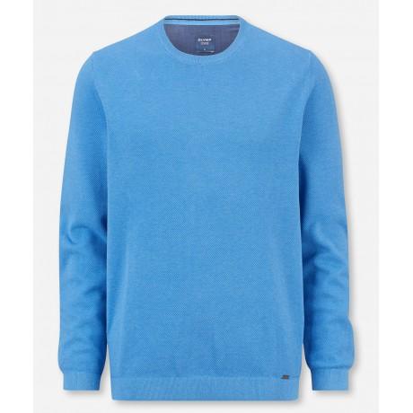 Пуловер мужской Olymp 53115574, голубой из структурного хлопка с круглым вырезом