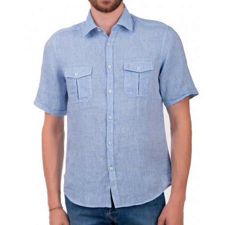 Рубашка мужская Calamar, артикул 109803/1S16/40, цвет голубой, состав 100% лён