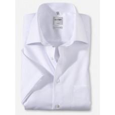 Рубашка мужская OLYMP Luxor Comfort fit, артикул 02541200 с коротким рукавом,белая гладкая