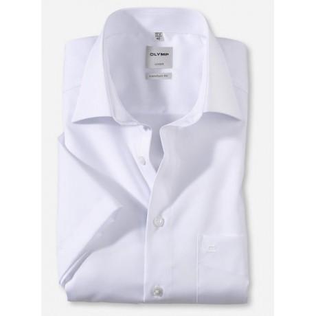 Рубашка мужская Olymp 02541200, Comfort fit с коротким рукавом,белая гладкая