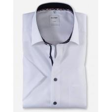 Рубашка мужская OLYMP Luxor Comfort fit, артикул 10085200 с коротким рукавом,белая фактурная