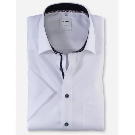 Рубашка мужская Olymp 10085200, Comfort fit с коротким рукавом,белая фактурная