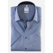 Рубашка мужская OLYMP Luxor Comfort fit, артикул 10085218 с коротким рукавом,темно-голубая фактурная