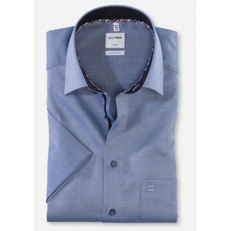 Рубашка мужская Olymp 10085218, Comfort fit с коротким рукавом,темно-голубая фактурная