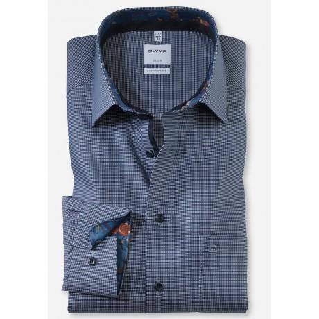 Рубашка мужская Olymp 10426418, Comfort fit, синяя фактурная