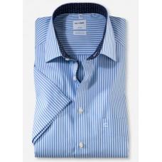 Рубашка мужская OLYMP Luxor Comfort fit, артикул 10435211 с коротким рукавом, голубая в полоску