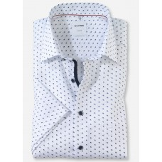 Рубашка мужская OLYMP Luxor Comfort fit, артикул 10707211 с коротким рукавом,белая с узором
