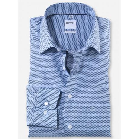 Рубашка мужская Olymp 10846411, Comfort fit, голубая с геометрическим рисунком