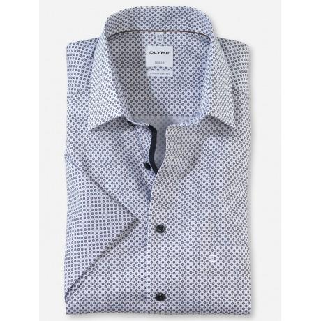 Рубашка мужская Olymp 11047200, Comfort fit с коротким рукавом,белая с рисунком