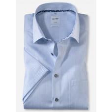Рубашка мужская OLYMP Luxor Comfort fit, артикул 11065211 с коротким рукавом, голубая в полоску