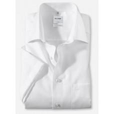 Рубашка мужская OLYMP Luxor Comfort fit, артикул 11081200 с коротким рукавом,белая фактурная