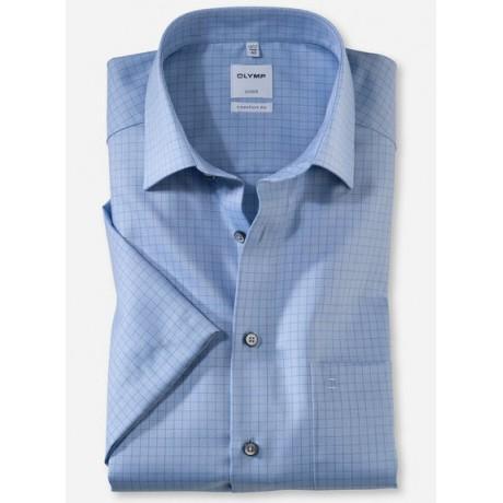 Рубашка мужская OLYMP Luxor Comfort fit, артикул 11165211 с коротким рукавом,темно-голубая в клетку