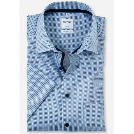 Рубашка мужская OLYMP Luxor Comfort fit, артикул 11817211 с коротким рукавом,голубая с рисунком