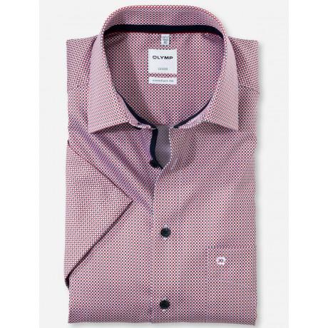 Рубашка мужская OLYMP Luxor Comfort fit, артикул 11817235 с коротким рукавом,красная с рисунком
