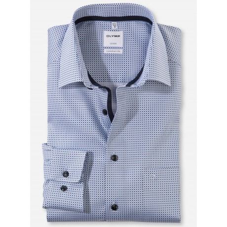 Рубашка мужская Olymp 11817411, Comfort fit, голубая с графическим дизайном