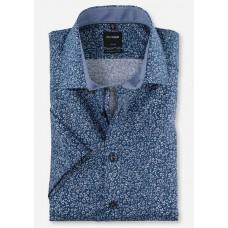 Рубашка мужская OLYMP Luxor Modern fit, артикул 12343219 синяя с цветочным принтом, короткий рукав