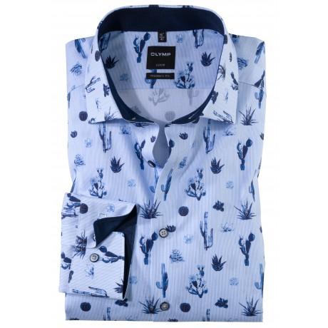 Рубашка мужская OLYMP Luxor Modern fit, артикул 124954115 голубая с растительным принтом