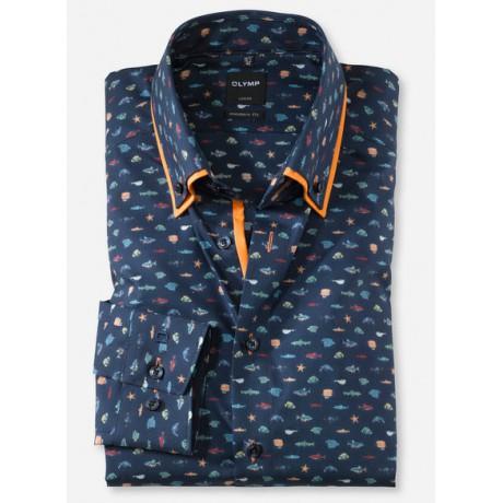 Рубашка мужская OLYMP Luxor Modern fit, артикул 12655418 темно-синяя с морским принтом