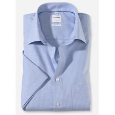 Рубашка мужская OLYMP Luxor Comfort fit, артикул 31901211 с коротким рукавом, голубая в мелкую клетку