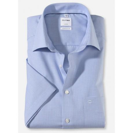 Рубашка мужская OLYMP Luxor Comfort fit, артикул 319012111 с коротким рукавом, голубая в мелкую клетку