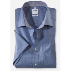 Рубашка мужская OLYMP Luxor Comfort fit, артикул 31901219 с коротким рукавом, синяя в мелкую клетку