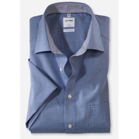 Рубашка мужская OLYMP Luxor Comfort fit, артикул 319012119 с коротким рукавом, синяя в мелкую клетку
